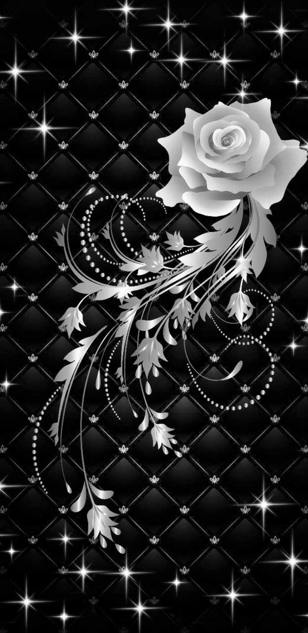 Monochrome Black And White Rose Silver Rose Wallpaper Black