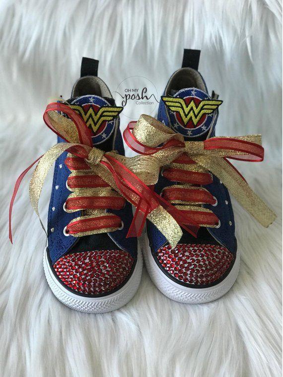 bb451fdcd15c Wonder Woman Inspired Custom Bling Converse Birthday Halloween Shoes ...