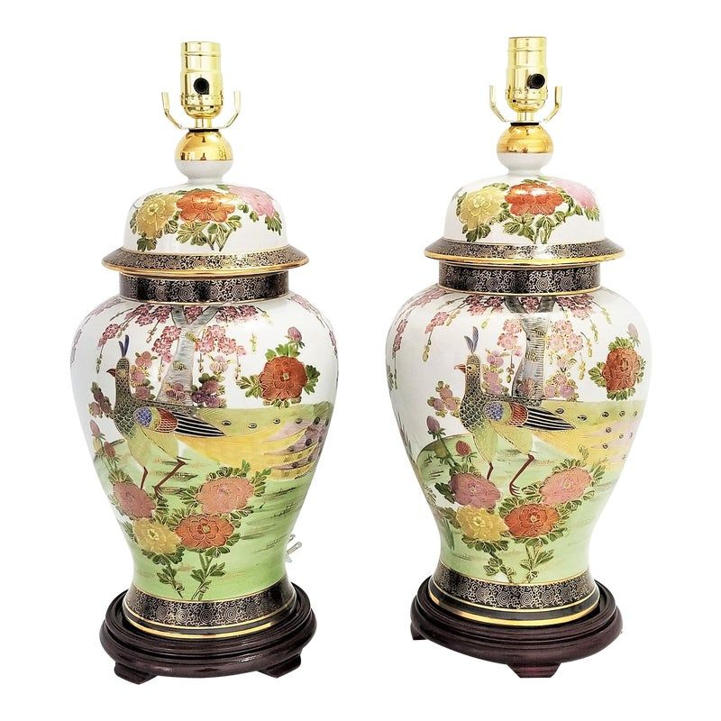 Vintage Chinese Peacock Bird Porcelain Ginger Jar Table Lamps A