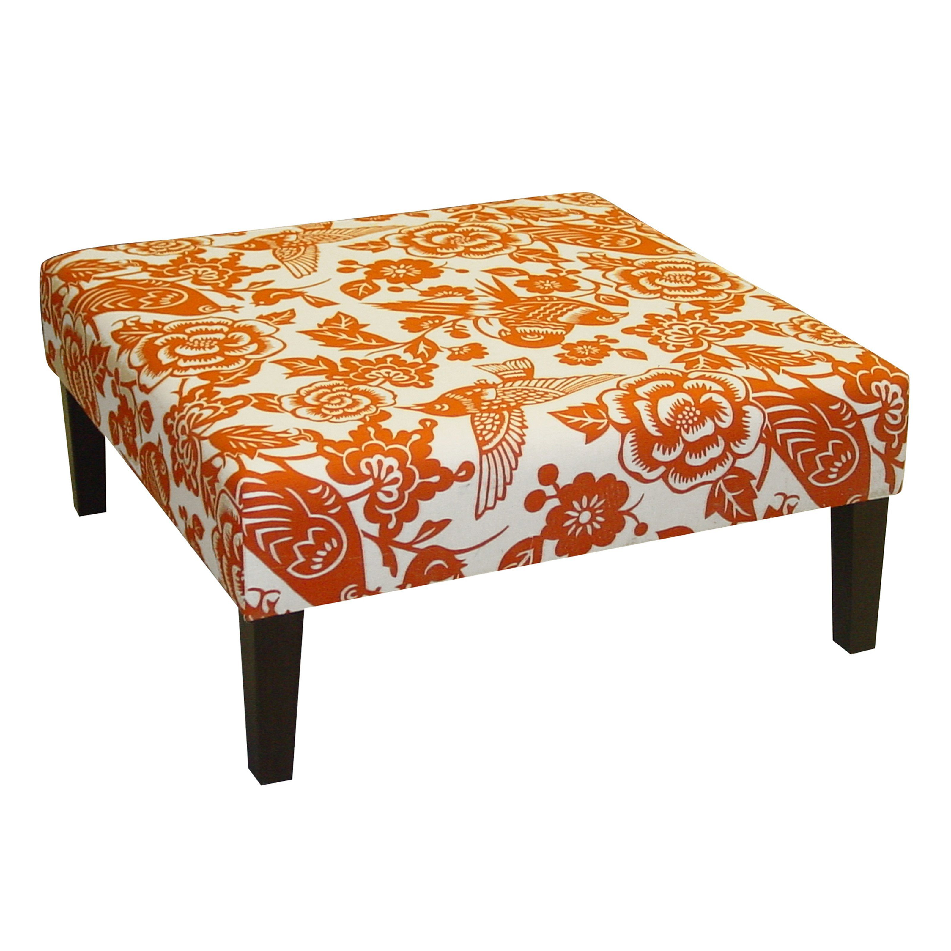 Skyline Furniture Cocktail Ottoman   Canary Tangerine | From Hayneedle.com