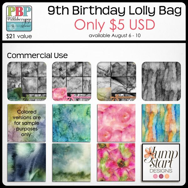Celebrate PBP's 9th Birthday with Lolly Bags ONLY $5 now through August 10, 2015! Lolly Bag 1 - CU {by Jumpstart Designs}