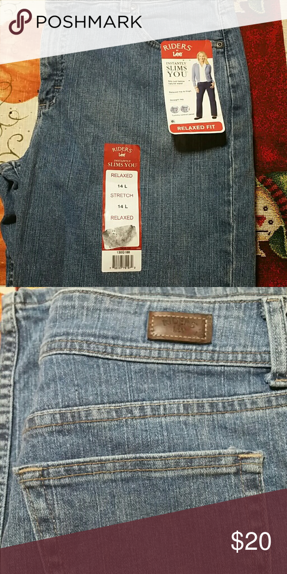 dc46a4c1 Jeans NWT Woman's 14 Long relaxed fit stretch blue jeans. Instantly slims  you with tummy control panel. Riders by Lee Jeans Straight Leg