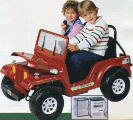 Cruisin' in my red Power Wheels Jeep!   When I Wasn't Old