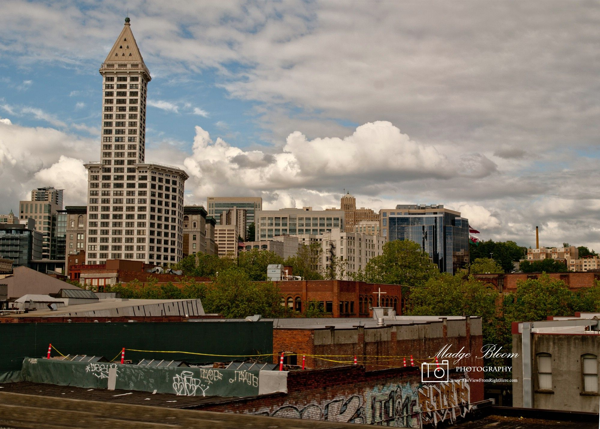 Graffiti On Pioneer Square Roof Top Downtown Seattle