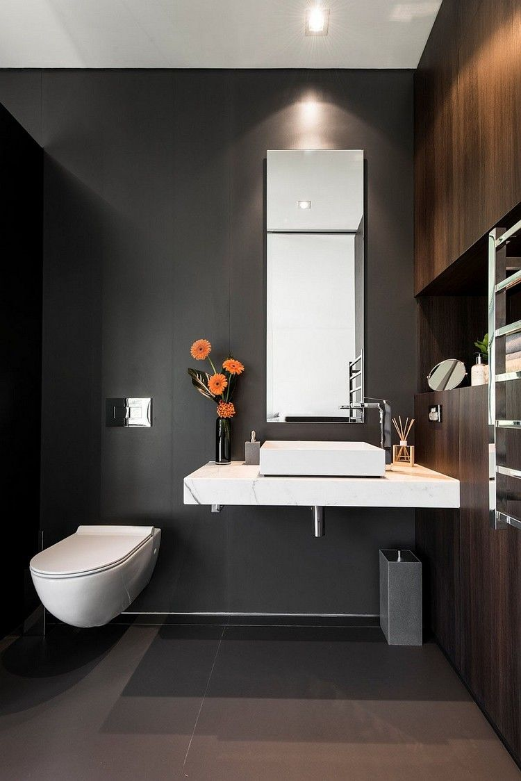 schwarzes g ste wc mit h ngendem toilettenbecken wohnen pinterest badezimmer bad und g ste wc. Black Bedroom Furniture Sets. Home Design Ideas