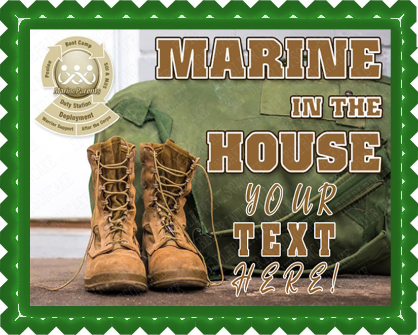 Marine in the House Edible Cake Topper OR Cupcake Topper