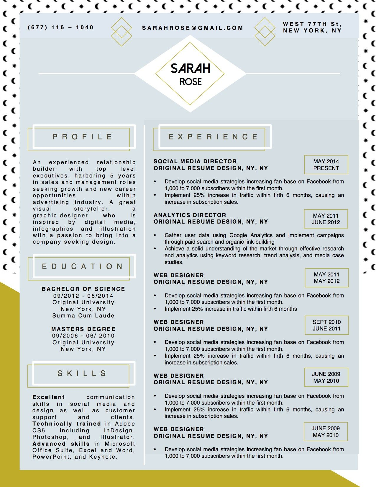 Sarah Rose Resume Template Stand Out Shop Projects To Try