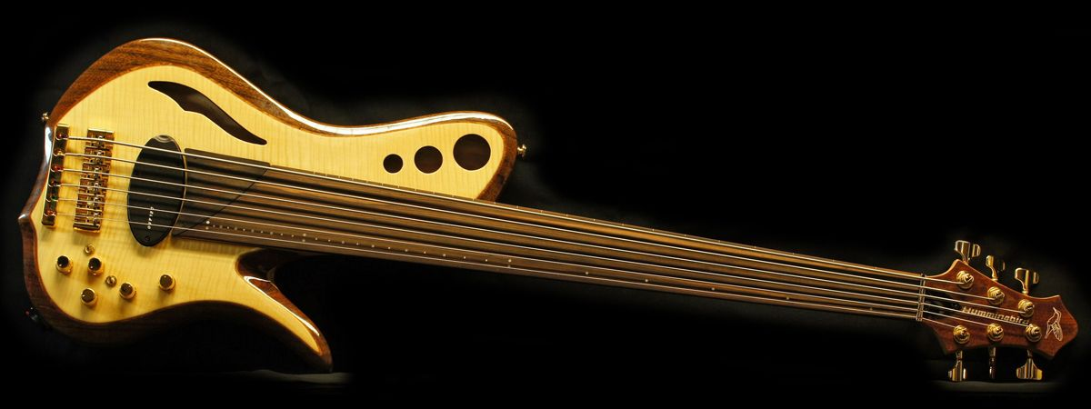RMI, Hummingbird, 36 space fretless, 6 string bass