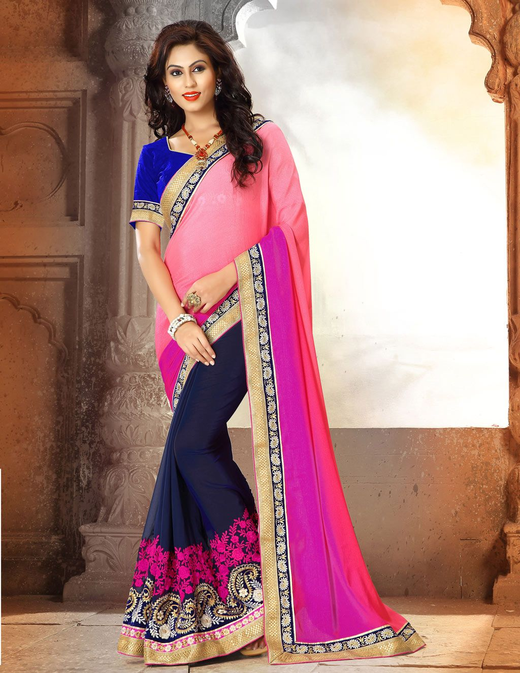 Peach Georgette Party Wear Saree 63396 | Party Wear Saree(New ...