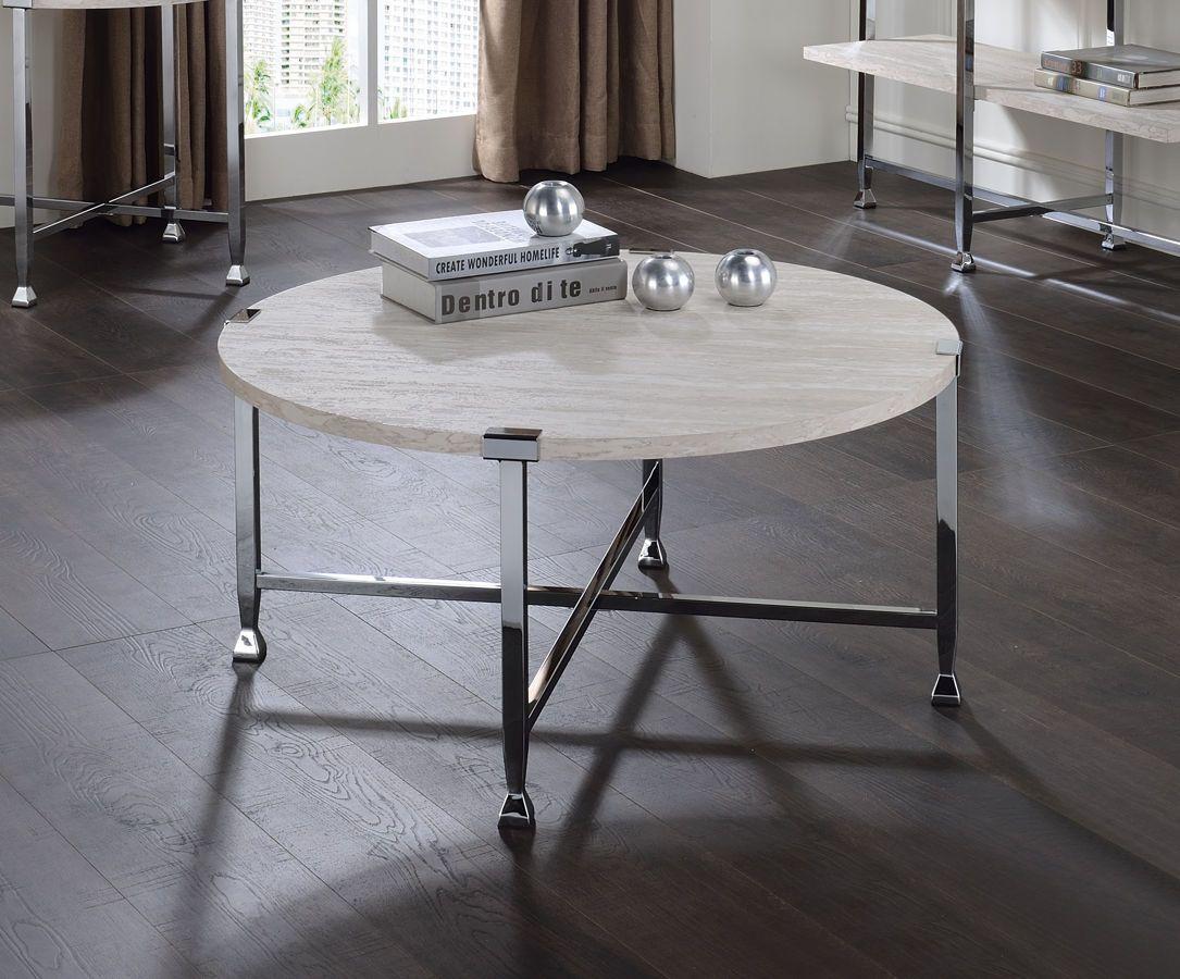 Acme Furniture Brecon White Oak Chrome Coffee Table Coffee Table Round Coffee Table Rectangle Coffee Table Wood [ 900 x 1085 Pixel ]