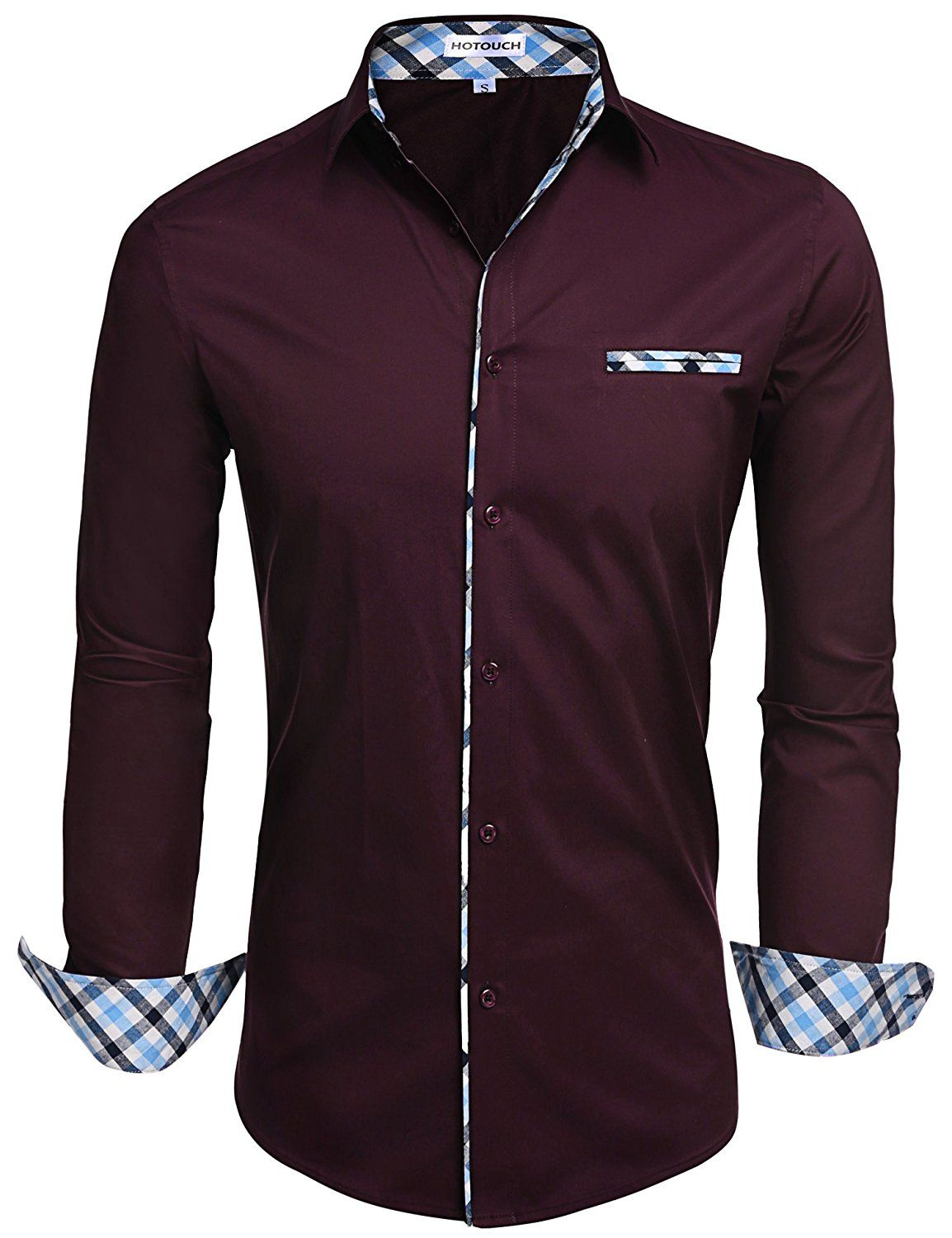 c7d8ece77a72  20.99 -  25.99 HOTOUCH Mens Long Sleeve Inner Contrast Casual Button Down  Shirts Assorted Color   Pattern Variety