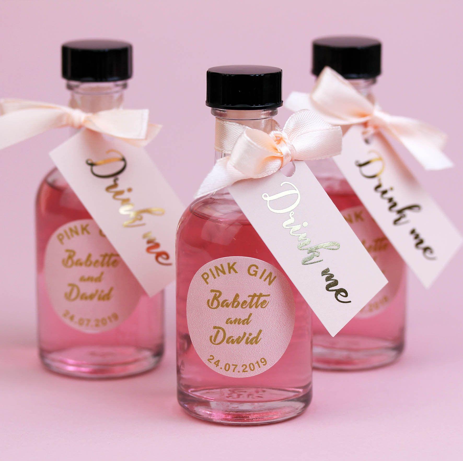 Personalized mini gin bottles make fun wedding favors!   Blush and ...