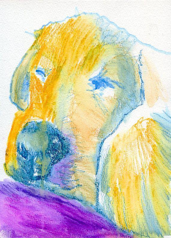 Labrador Dog print, Print of Original Painting Purple and Yellow ...