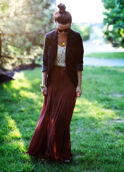 Oxblood maxi skirt