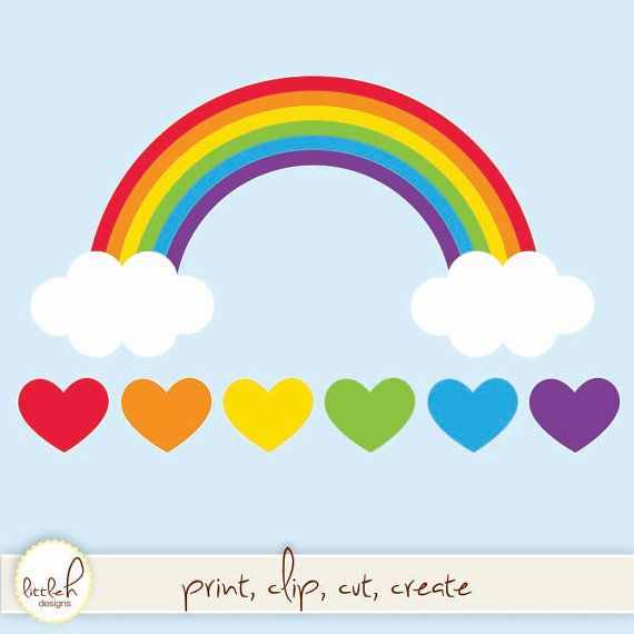 Rainbow With Clouds And Hearts Digital Clip Art Vector Eps File Png And Jpeg Rainbow Paper Rainbow Images Rainbow