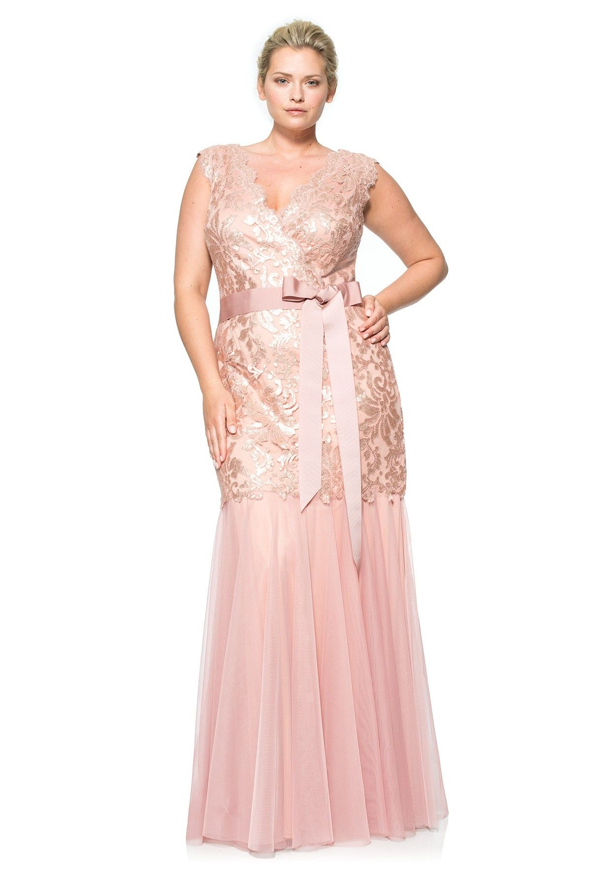 Paillette embroidered lace vneck gown tadashi shoji clthing
