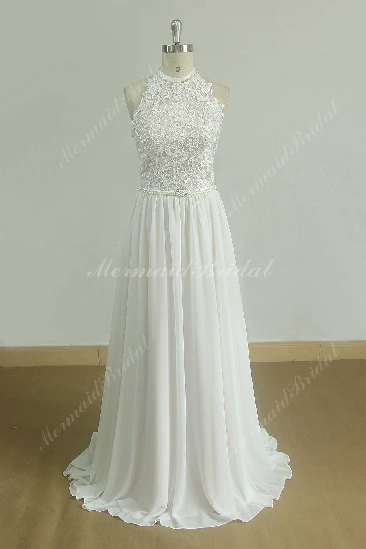 Flowy halter lace chiffon boho blush pink lined wedding dress with