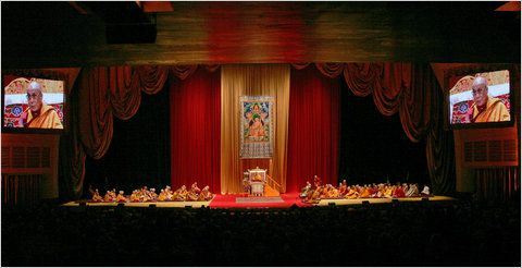radio city music hall- interior -nyc the dalai lama teaching live on stage.