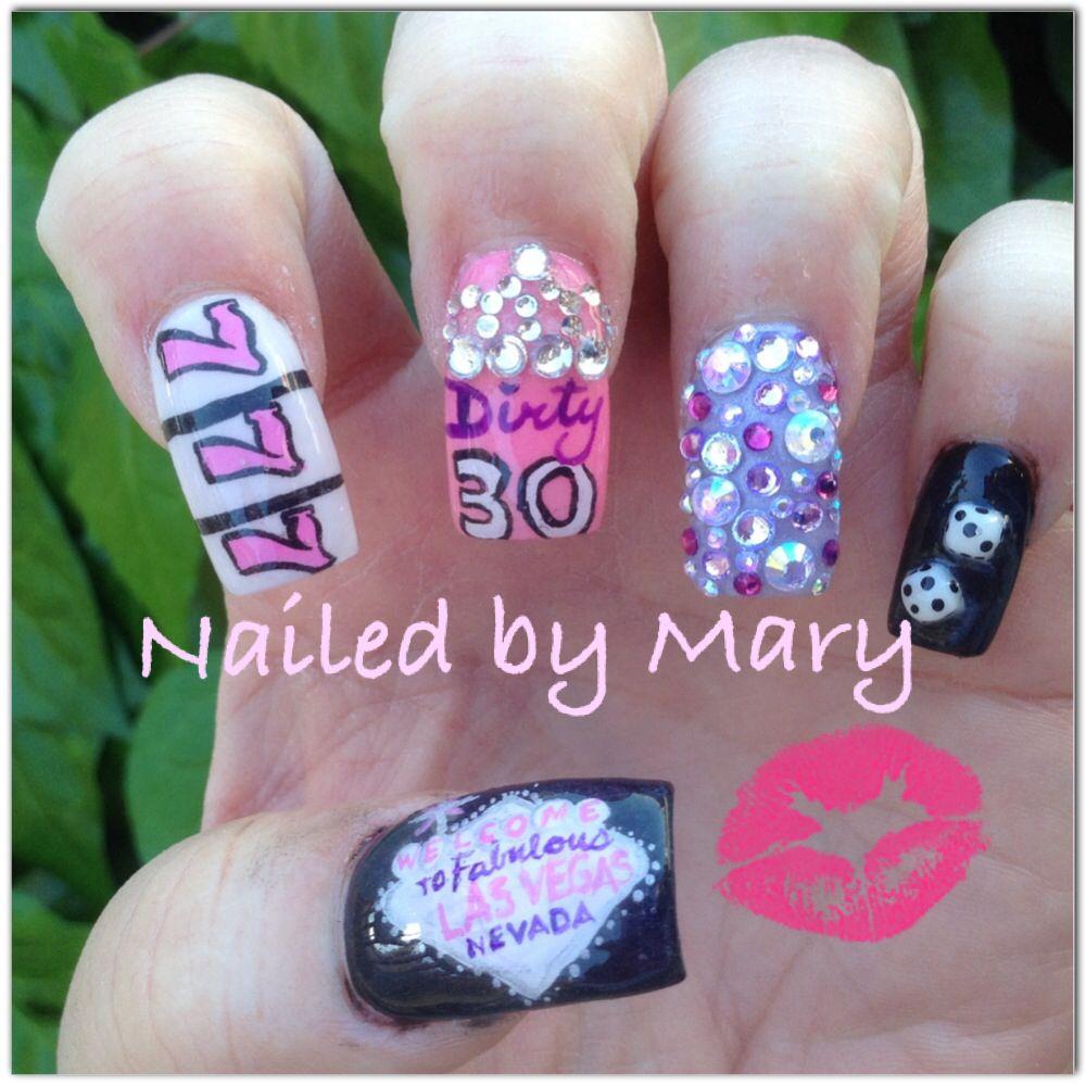 Dirty 30 Birthday Las Vegas nails | Nailed by Mary | Pinterest