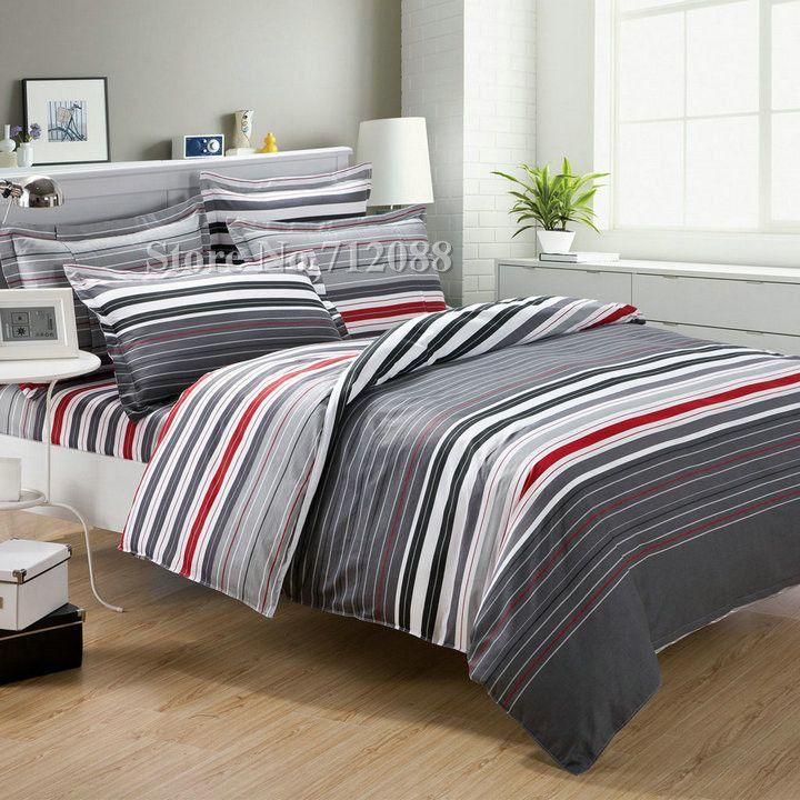 New Arrivals 100 Cotton Korean Style Red Gray Stripe Pattern Modern 4pcs Full Queen Quilt Duvet Covers Bedding S Queen Bedding Sets Bedding Sets Duvet Bedding