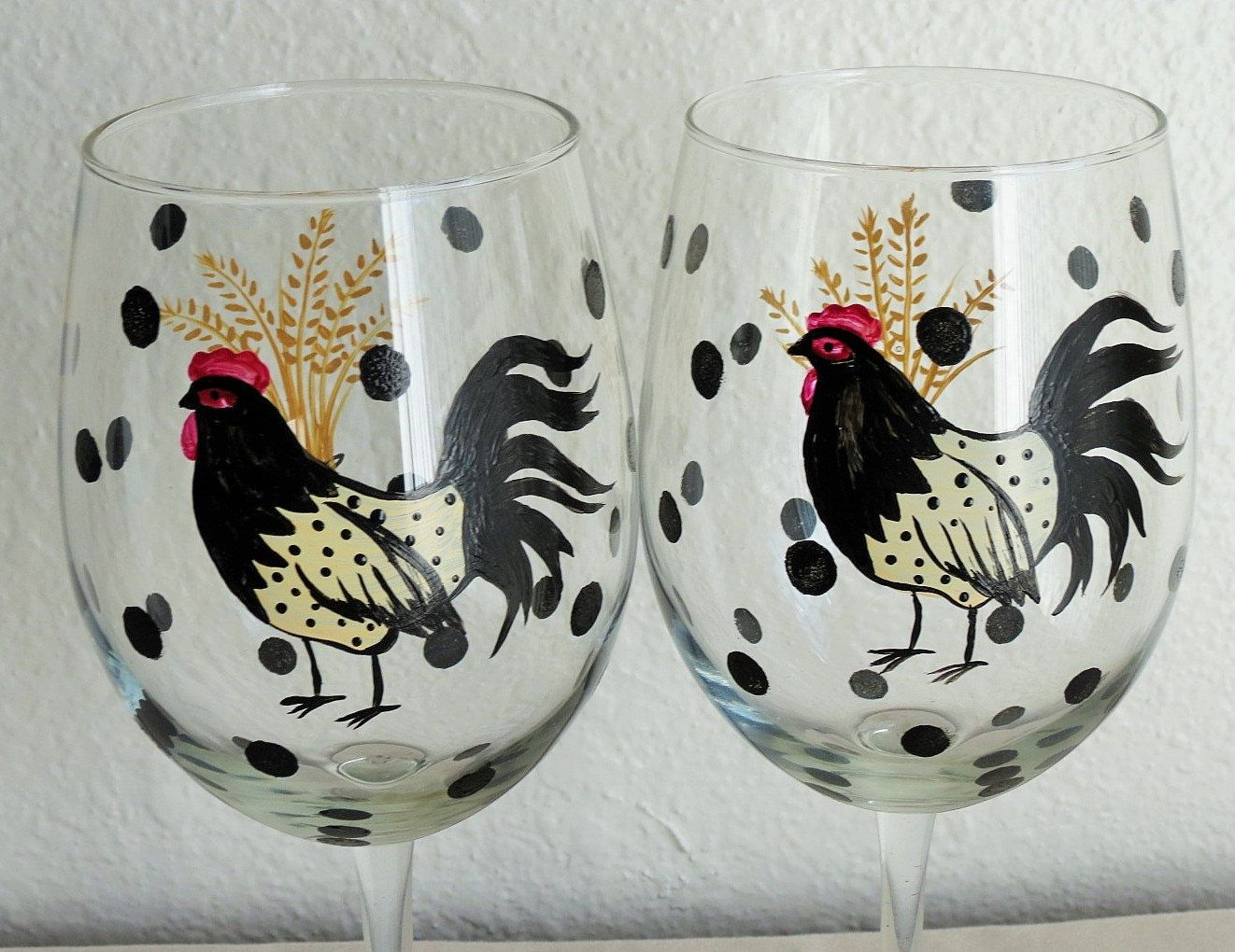Hand Painted Wine Glasses Roosters Mothers Day Gift Set of 2 Kitchen ...