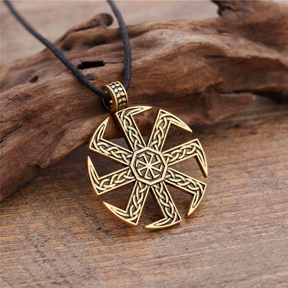 Vintage Slavic Sun Wheel Necklace Norse Viking Symbol Jewellery for Men Amulet