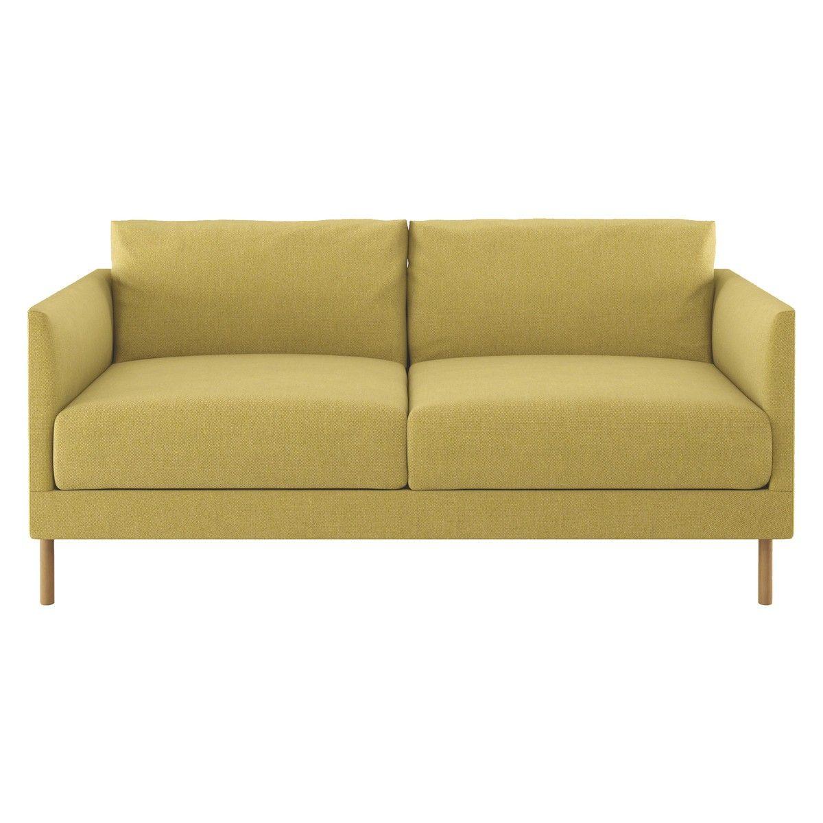 Hyde Yellow Fabric 2 Seater Sofa Wooden Legs Now At Habitat Uk