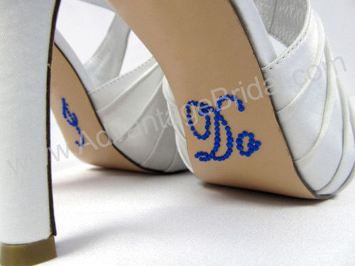 ROYAL BLUE SCRIPT Crystal I DO Wedding Shoe Decal Stickers For Bridal Shoes