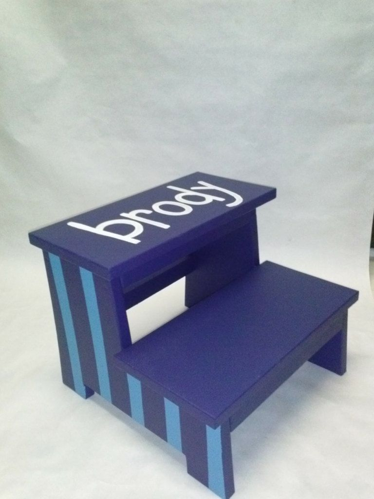 Phenomenal Childrens Step Stool Stripes With Name By Wouldknots On Caraccident5 Cool Chair Designs And Ideas Caraccident5Info