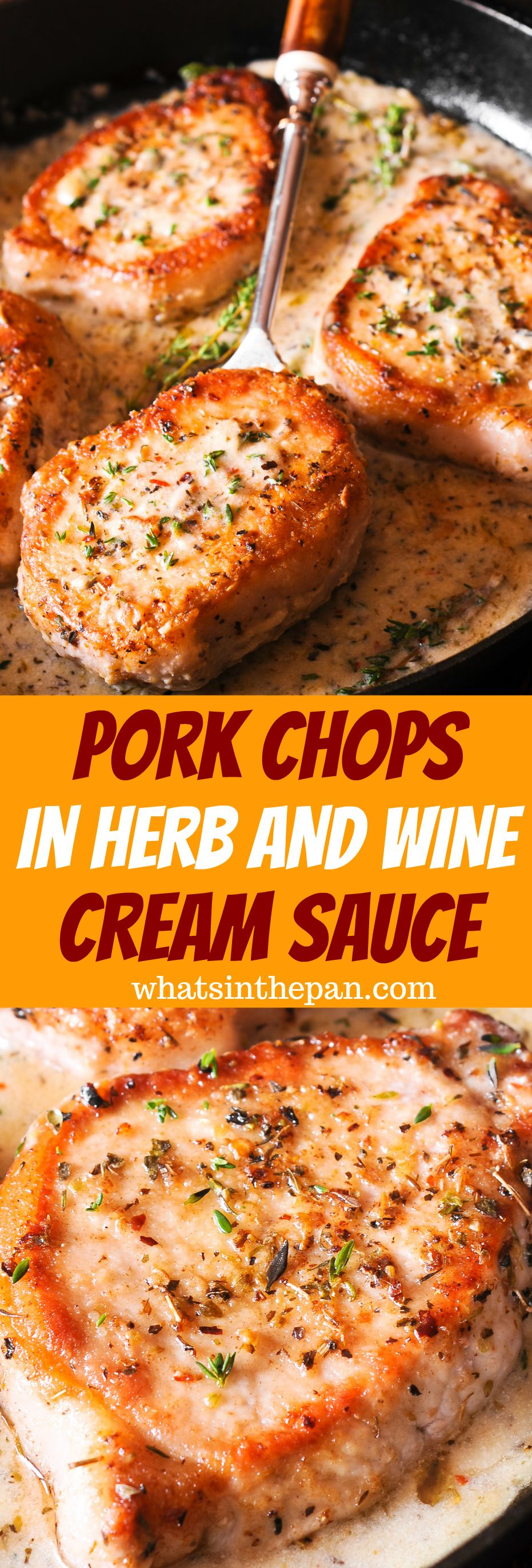 Pork Chops in Herb and Wine Cream Sauce images