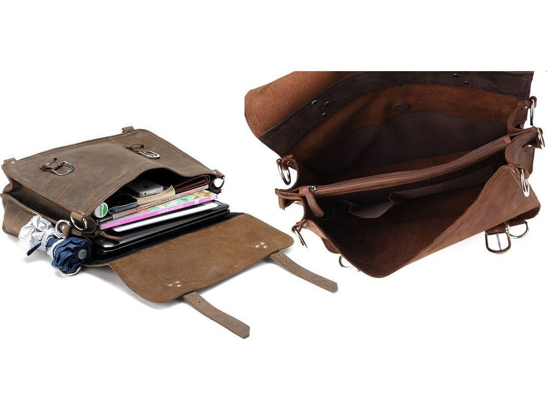 Handcrafted Full Grain Distressed Leather Laptop Briefcase Selvaggio - Serbags  - 2