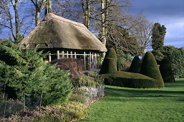 Thatch cottages in England and Wales: Hawk House; cottage at Chirk Castle, Wales