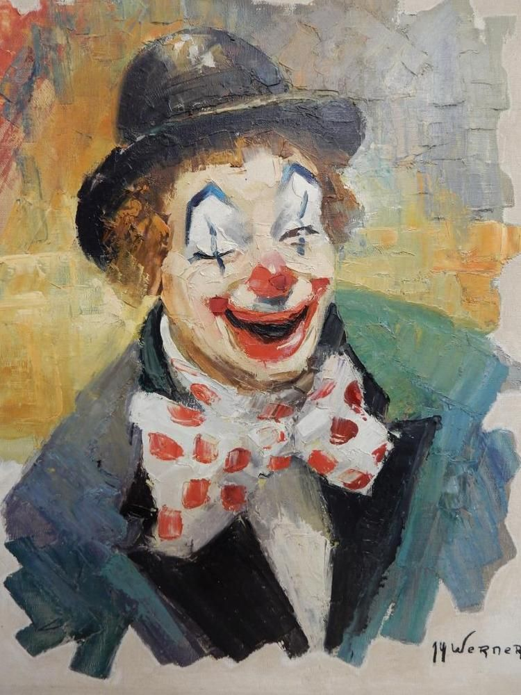 really old PAINTING oil circus clown signed WERNER | Clown Art
