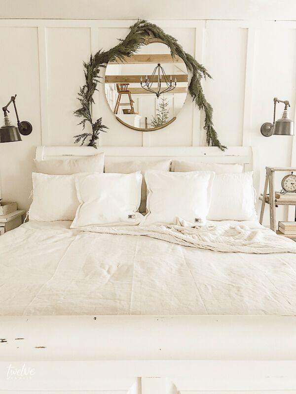 Simple Scandinavian Farmhouse Style Christmas Bedroom Decor