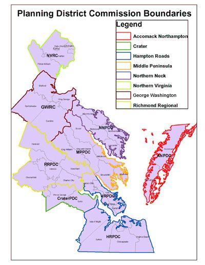 Coastal Virginia Map.Planning District Commission Boundaries Map Virginia Pinterest