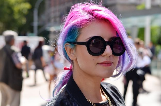 13 Fantastic Candy Colored Hairstyles Spotted At Fashion Week i love this one want to do it ahhh