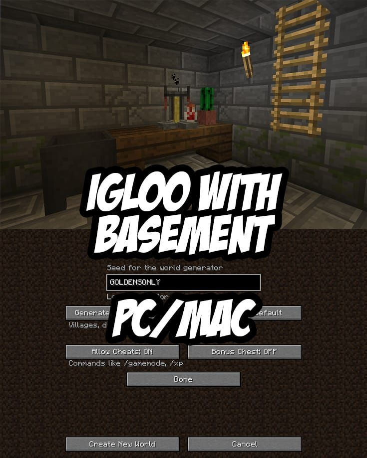 Igloo With Gold In Basement Seed Goldensonly Minecraft Seeds Pc
