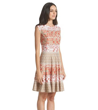 Julian Taylor Striped Floral Patterned Scuba Dress | Younkers