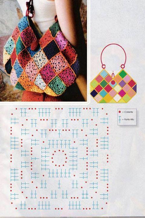 square motif hand bag | Granny squares | Pinterest | Bolsos ...