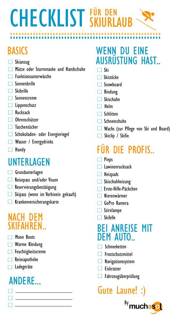 checkliste skiurlaub | travel | Pinterest | Skiurlaub, Checkliste ...