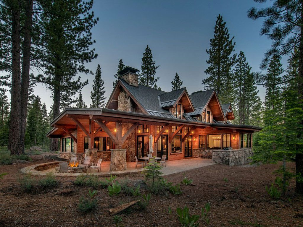 O overhang on patio, dormers, nice patio  Jim Morrison Construction - Martis Camp - Lahontan - North Lake Tahoe #mountainhomes