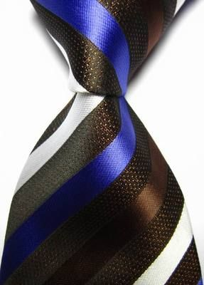 New Classic Stripes Blue Black White JACQUARD WOVEN 100/% Silk Men/'s Tie Necktie