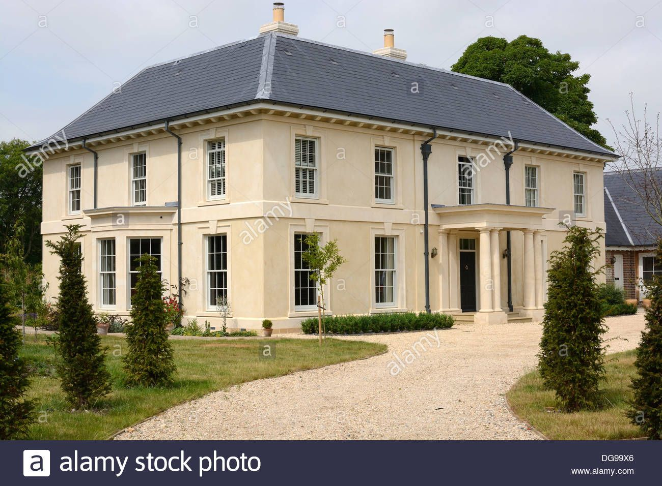 Download this stock image new build large georgian style for New homes to build
