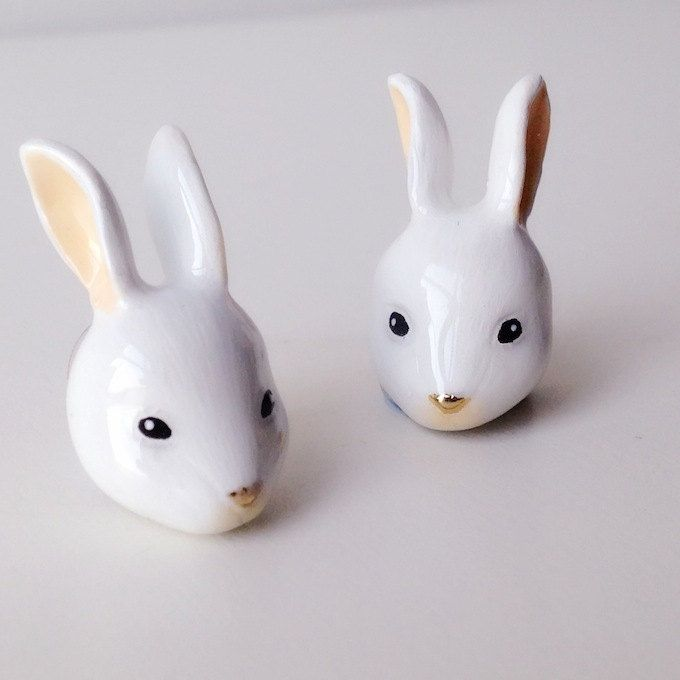 Enamel Rabbit Earrings Ring - Enamel Earrings, Animals Earrings, Animals Jewelry, Enamel Brass Jewelry, Gift, Mary Lou, Rabbit Earrings by MaryLouBangkok on Etsy