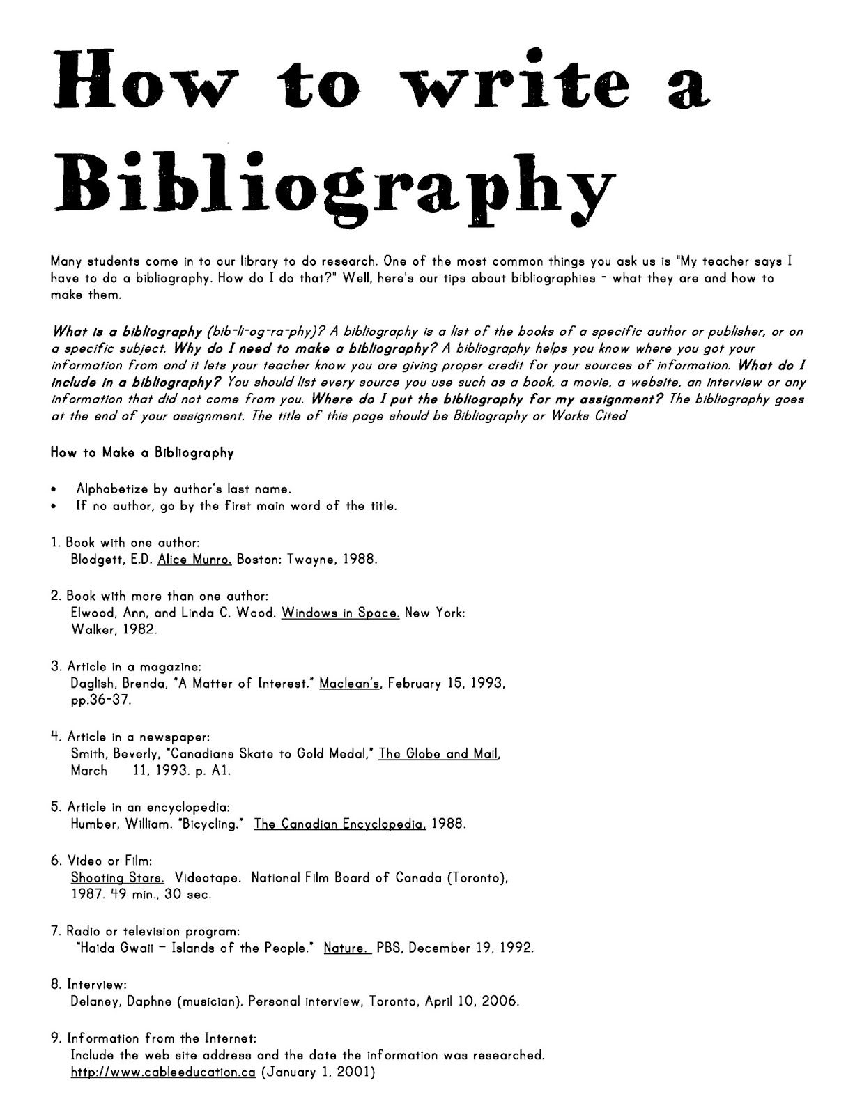 How To Write A Bibliography  School Library  Ideas