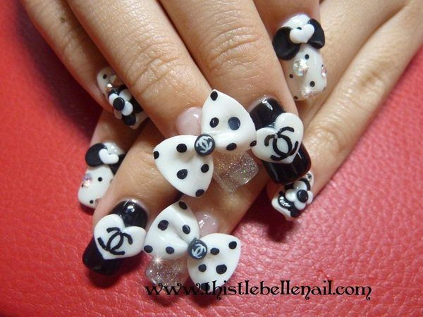 35 Cool 3d Nail Art Cute Bows Nail Art Pinterest 3d Art Nails