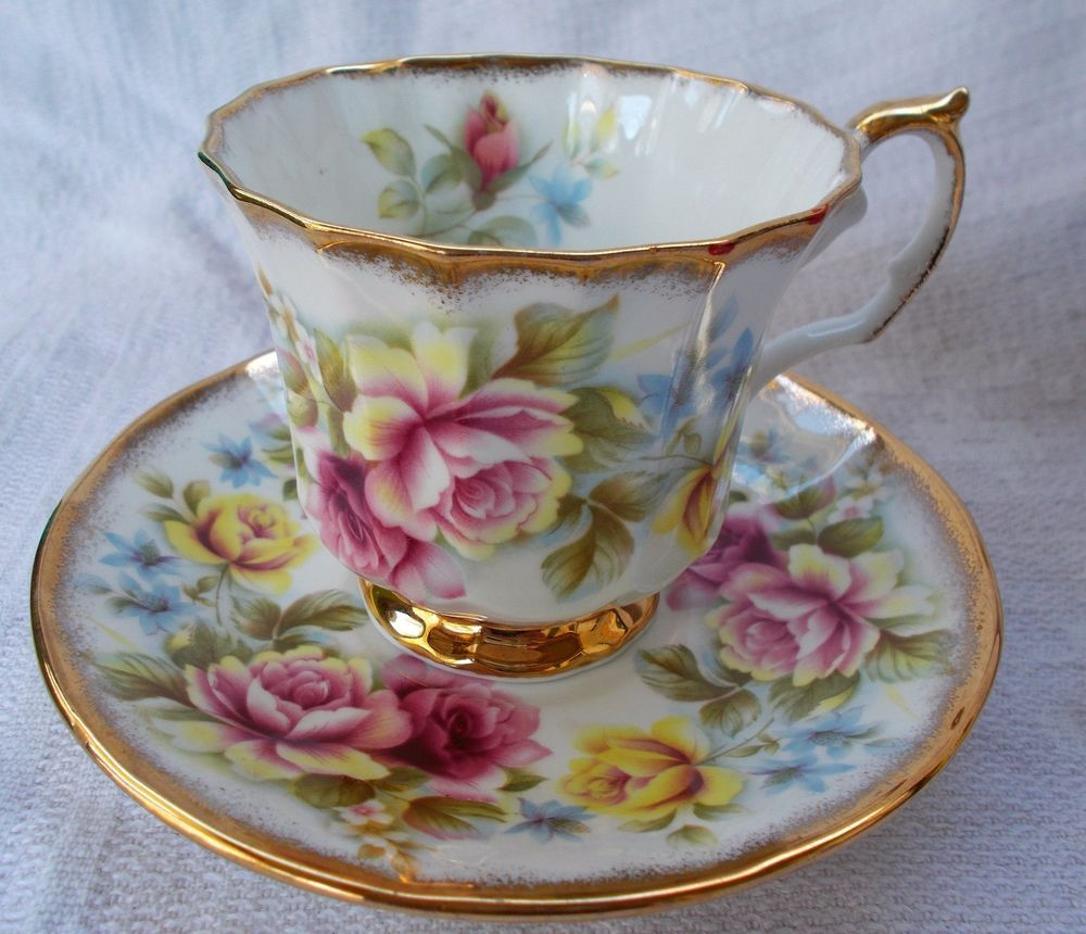 vintage elizabethan jacobean roses fine bone china cup saucer set tassen pinterest. Black Bedroom Furniture Sets. Home Design Ideas