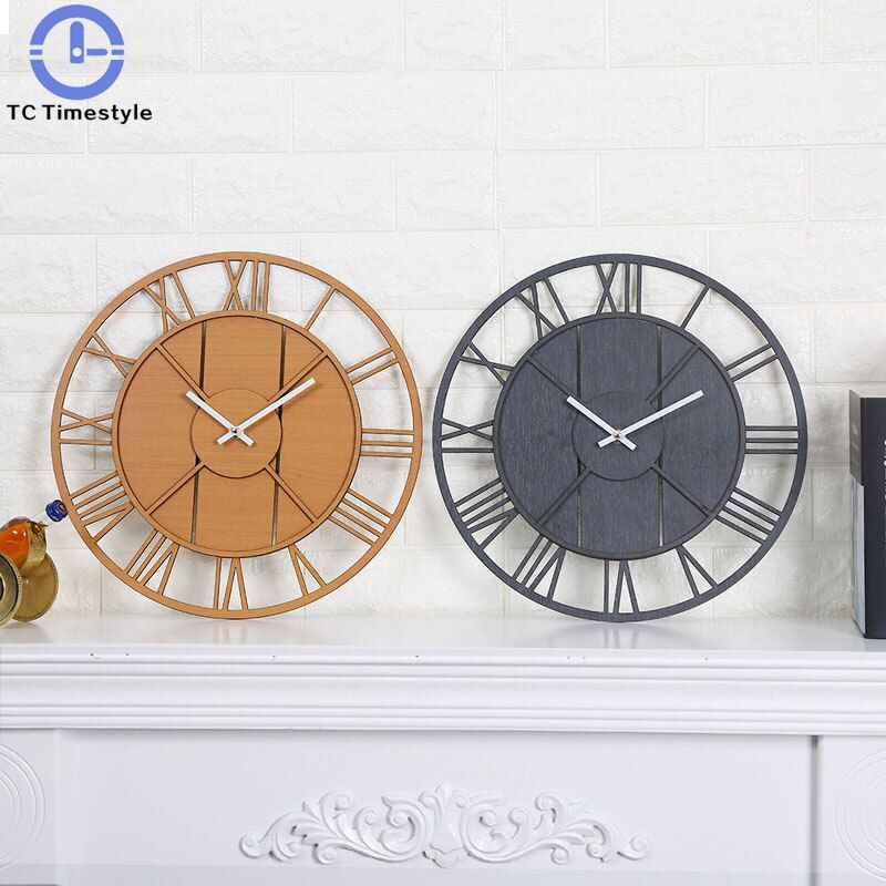 Creative Wall Clock Mute Stickers Simple Living Room Wooden Watch Modern Design Home Decor Silent 12 Inch Large Wall Clock Modern Vintage Clock Wall Clock Modern