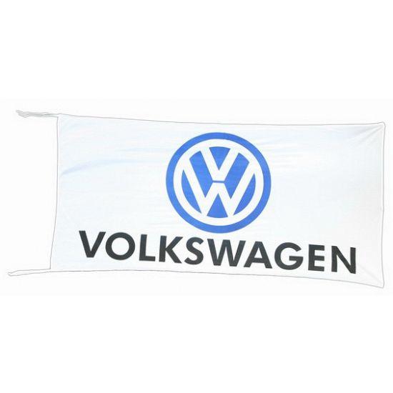 Logo vlag Volkswagen 150 x 75 cm  Volkswagen vlag wit 150 x 75 cm. Witte Volkswagen vlag met twee koordjes. De vlag is gemaakt van Du Pont nylon en is bestand tegen UV-straling. Afmeting: ongeveer 150 x 75 cm. Materiaal: 100% Du Pont nylon.  EUR 19.95  Meer informatie