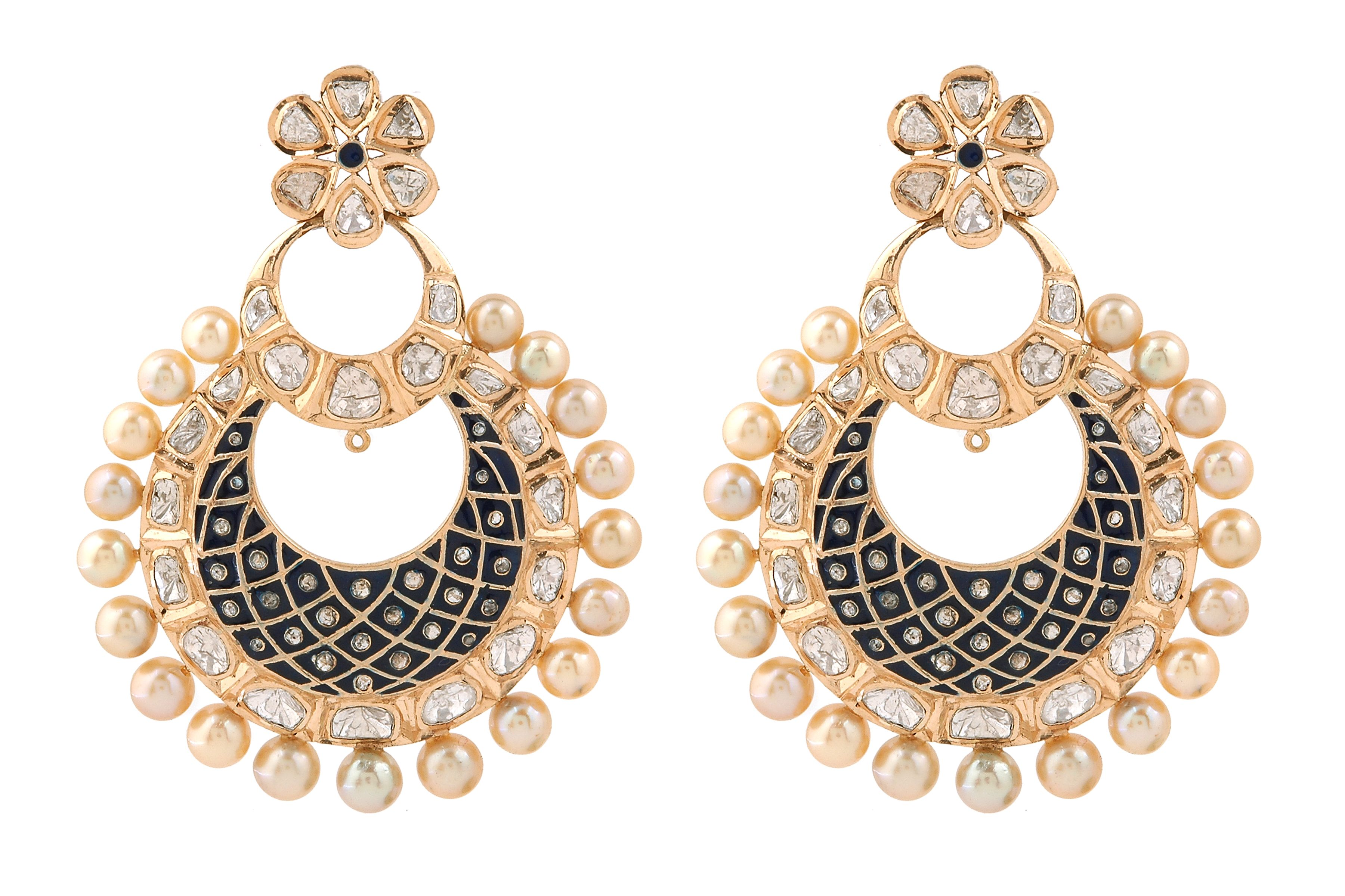 18krt Gold Earring With Polki & Diamonds. www.jeyporecreations.com